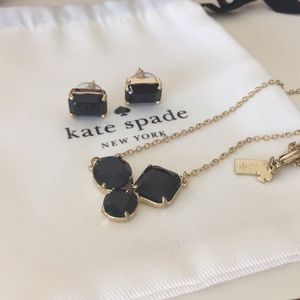 ♠️ Kate Spade black & gold necklace and earrings